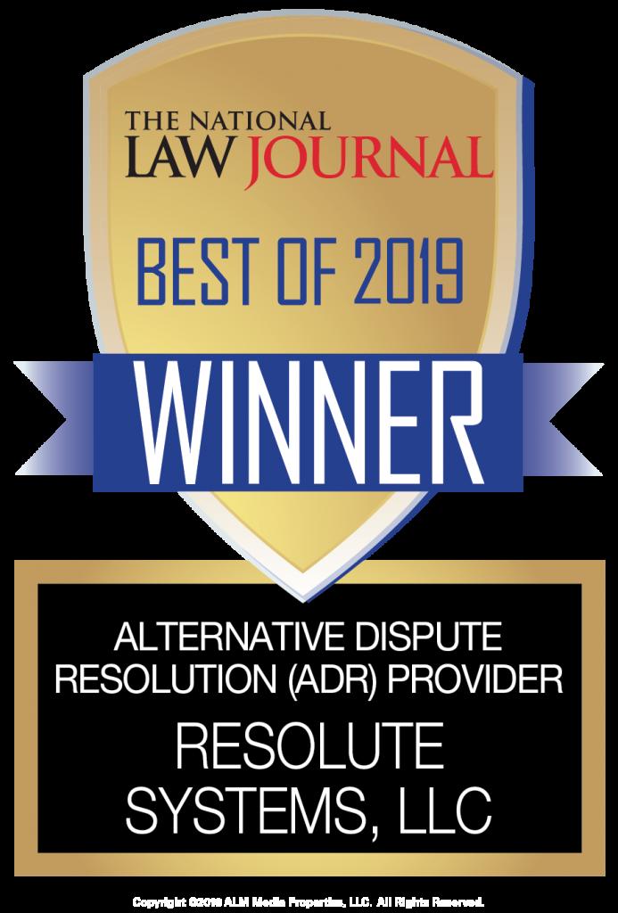NYLJ Best of 2019 Winner - Alternative Dispute Provider Resolute Systems, LLC